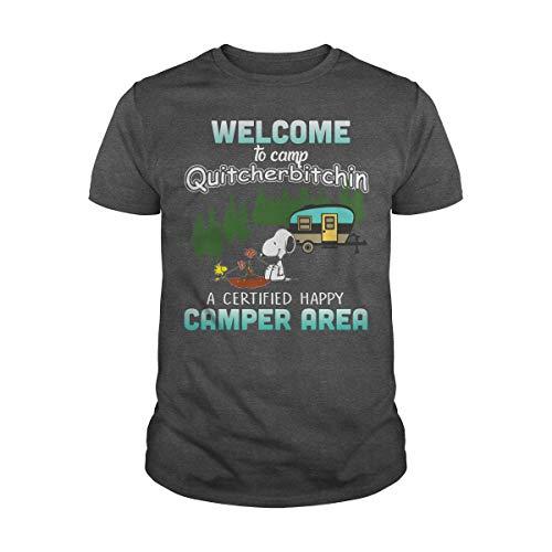 Poogky Men's Snoopy Welcome to Camp Quitcherbitchin T-Shirt (XL, Dark -