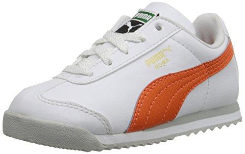 PUMA Roma Basic Kids Sneaker (Infant/Toddler) , White/Vermillion Orange, 1.5 M US Little Kid (Puma Roma Basic Kids)