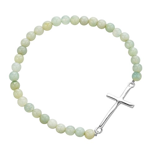 925 Sterling Silver Thin Line Cross Beaded Blue-green Amazonite Gemstone Spheres Stretch Bracelet