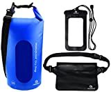 Freegrace Waterproof Dry Bags Set Of 3 By Dry Bag With 2 Zip Lock Seals & Detachable Shoulder Strap, Waist Pouch & Phone Case - Can Be Submerged Into Water - For Swimming (Navy Blue(Window), 10L)