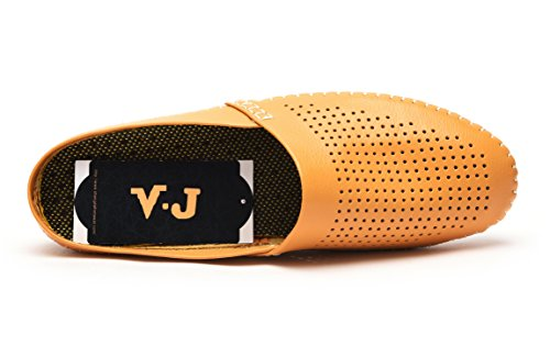 V.J Männer klassische Hand genäht Echtleder Haus Hausschuhe Mode Büro Comfort Slip auf Wohnungen Casual Fahr Schuhe atmungsaktive Sandalen VJ805 Gelb