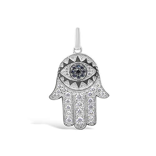 925 Solid Sterling Silver CZ Hand of Hamsa Pendant / Charm for Necklace or Bracelet - Evil Eye Defense