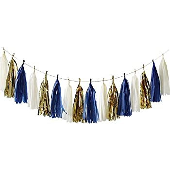 nicrolandee 15 pcs navy blue tissue paper tassel garland gold foil art party garland for wedding baby shower bridal shower nautical birthday party