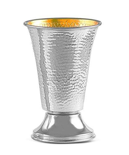 Sterling Silver Kiddush Wine Goblet - Modern Hammered Cup