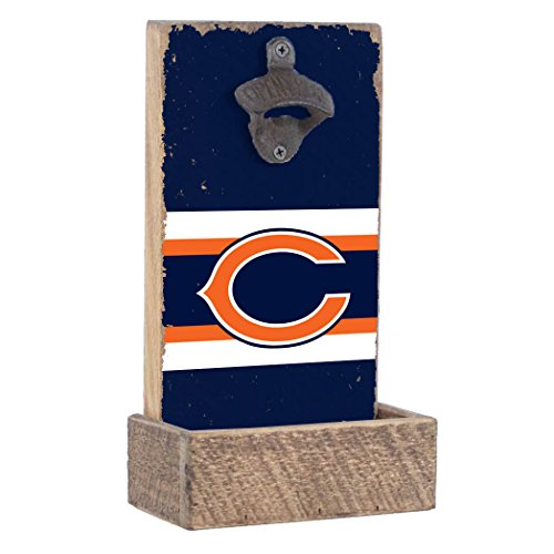 NFL Chicago Bears, Team Colors Background, Team Logo Bottle Opener By Rustic Marlin Designs,  7