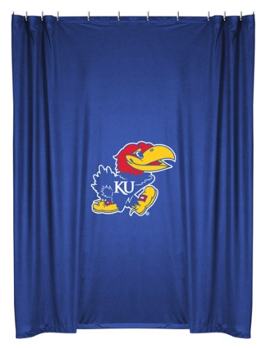 Kansas Jayhawks COMBO Shower Curtain, 4 Pc Towel Set & 1 Window Valance/Drape Set (84 inch Drape Length) - Decorate your Bathroom & SAVE ON BUNDLING! by Sports Coverage
