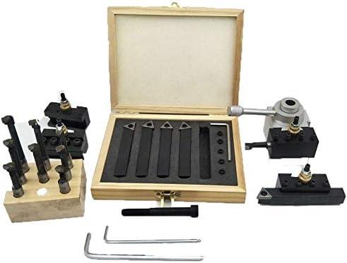 耐久性のある小型ポータブル19ピースクイックチェンジポストホルダーキットボーリングバーターニングツールセットホルダーCNCミニ旋盤用9個3/8ボーリングバーと5個の交換可能なブレードDIY木工旋盤