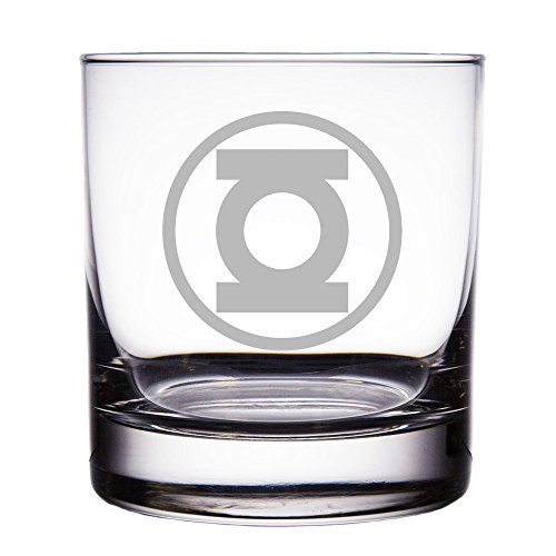 Green Lantern Engraved 10 oz Rock Glass (Lantern Green Glass)