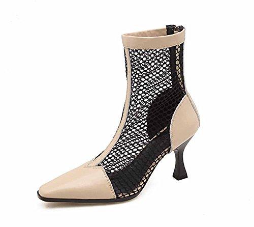 Sandalias Huecas De Las Mujeres Summer Charming Mesh Boots Cremallera Trasera High Heels Black Beige Beige