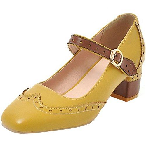 Yellow Zapatos Bajo Clasico Tacon Zanpa Mujer qgaH11
