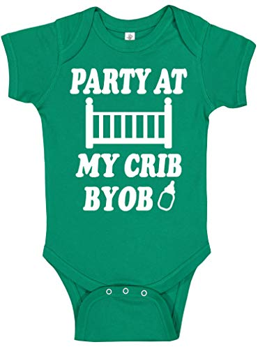 Handmade Baby Boy and Baby Girl St Patrick's Day Outfits - Cute Funny Green Irish St Paddy's Day Bodysuits (Green Party at My Crib, 6 Months)]()