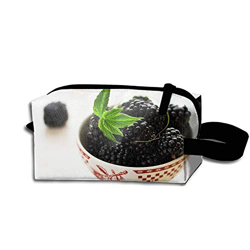JONHBKD BlackBerry Bowl Leaves Makeup Pouch Durable Travel Clutch Bag with Zipper