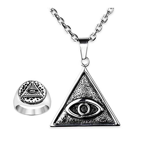 Zysta All Seeing Eye of Providence Vintage Retro Ancient Symbol 24 inches Stainless Steel Chain Pendant Necklace Size 9 Wide Biker Band Ring Set Old Style God Protection Amulet ()