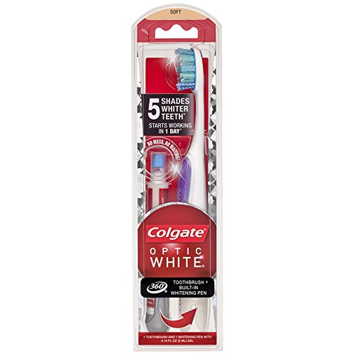 Colgate Optic White Toothbrush and Teeth Whitening Pen, Soft