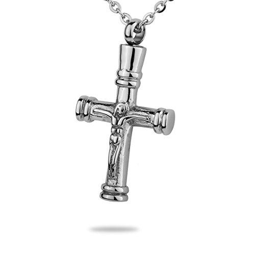 (HooAMI Jesus Christ Crucifix Cross Cremation Jewelry Pendant Keepsake Memorial Urn Necklace)