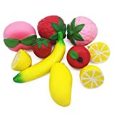 GP Jumbo Squishies Slow Rising 10pcs Strawberry Banana Peach Lemon Apple Mango Stress Relief Toys For Kids And Adults