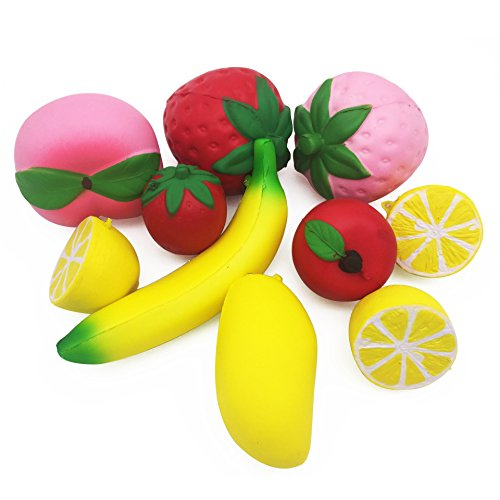GP Jumbo Squishies Slow Rising 10pcs Strawberry Banana Peach Lemon Apple Mango Stress Relief Toys For Kids And (Manzana Apple Halloween)