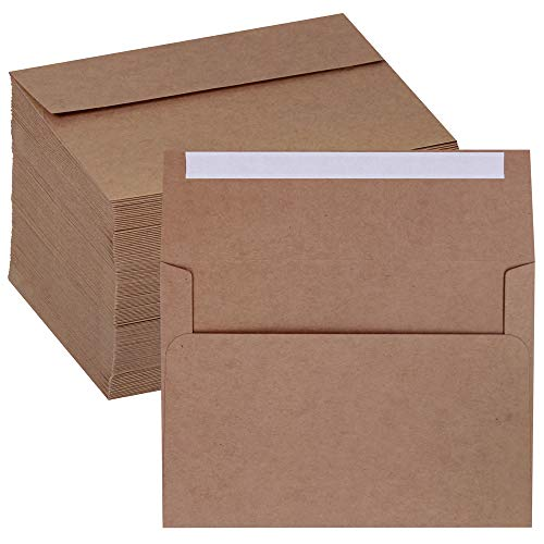 Supla 150 Pcs A7 Envelopes Brown Kraft Invitation Envelopes 5 x 7 Envelopes Self Seal Business Envelopes Photo Envelopes Greeting Card Blank Envelopes for Weddings Invitations Baby Shower Stationery