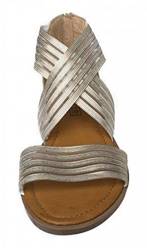 Fitters Footwear Sandalias de Dama - Christina EN Oro - Zapatos EN Talla Grande - schuhgrößen 42 Bis 45