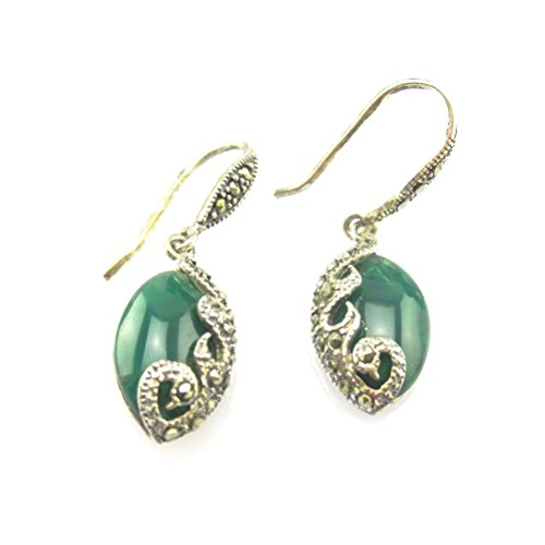 Jade Angel Vintage Sterling Silver Marcasite Earrings with Oval 10x16mm Green Agate