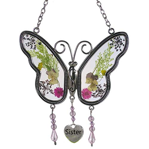 Circle Circle Sister Butterfly Suncatcher with Real Pressed Flower in Glass and Silver Metal Wings - Sister Butterfly Gifts ()