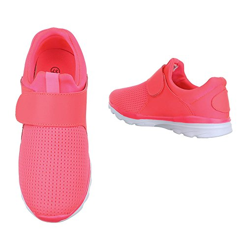 Ital-Design Sportschuhe Damenschuhe Geschlossen Klettverschluß Klettverschluss Freizeitschuhe Pink