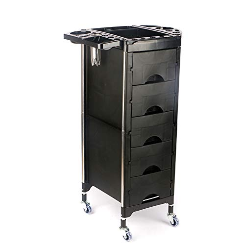 Beauty Storage Trolley Hairdresser Maintenance Carts Hairdressing Multi-Layer Drawer Tool Car Hair Salon Multi-Function Perm Hair Dyeing Equipment Cart Black by Beauty Storage Trolley (Image #1)