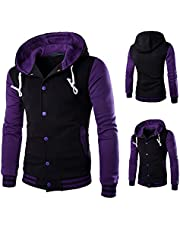 Patchwork Button Down Hoodie for Men Sweater Slim Drawstring Hooded Warm Sweatshirt Coat Jacket Outwear with Pockets