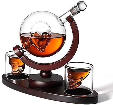 JTYX Recipiente De Vino De 850 Ml Copa De Calavera Botella De Vino De Vidrio De Hueso De Globo, Vodka, Vidrio Artesanal, Whisky Sobrio Dispositivo