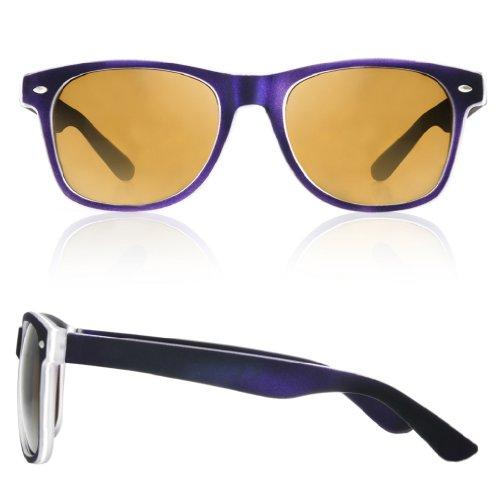 sol con de ahumados morado 4sold Gafas diseño unisex negro Negro cristales ochentero TM qnEYtI
