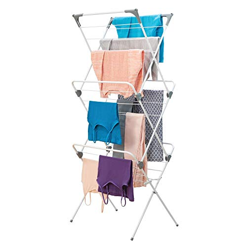 mDesign Tall Vertical Foldable Laundry Drying Rack - Compact, Portable and Collapsible for Storage - Large Capacity, 27 Drying Rods, 46 Feet of Drying Space - White/Gray