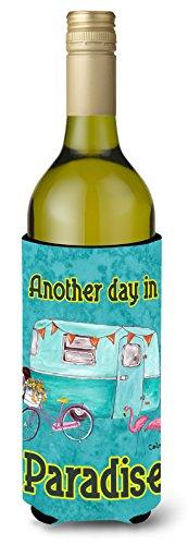 Another Day In Paradise Retro Glamping Trailer Wine Bottle Hugger Insulator