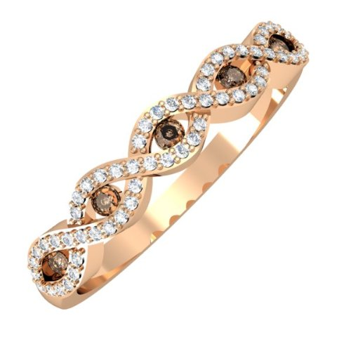 0.25 Carat (ctw) 14K Rose Gold Round Champagne & White Diamond Bridal Stackable Wedding Swirl Ring 1/4 CT
