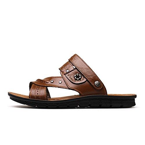 Uomini sandali estate vera pelle sandali Antiscivolo indossabile Doppio uso vera pelle Spiaggia Tempo libero viaggio scarpa ,giallo,US=10,UK=9.5,EU=44,CN=46