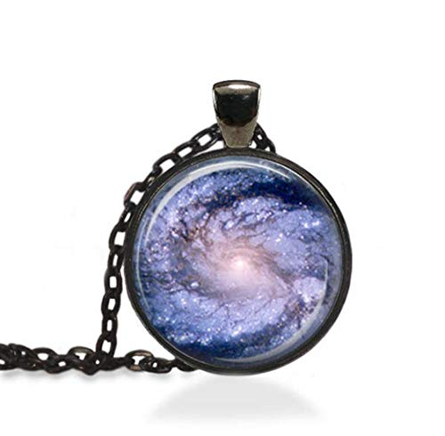 - we are Forever family Cloudy Nebula Jewelry, Astronomy Constellation Pendant, Spiral Galaxy Necklace (Black)
