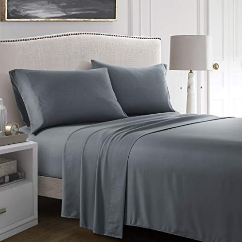 FOURBF Queen Bed Sheet Set, 4-Piece Breathable Soft Deep Pocket Fitted Sheet, Hypoallergenic,Wrinkle & Fade Resistant Sheet Cover, Double Brushed Microfiber Flat Sheet, Pillow Cases(Gray)