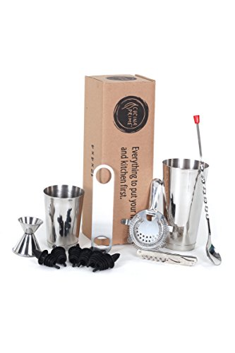 CucinaPrime 13 Piece Stainless Steel Professional Bar Set (2 Cocktail Shakers, Jigger, Speed Opener, Waiters Corkscrew, Strainer, Long Bar Spoon and 6 Black Bottle Pourers) by CucinaPrime