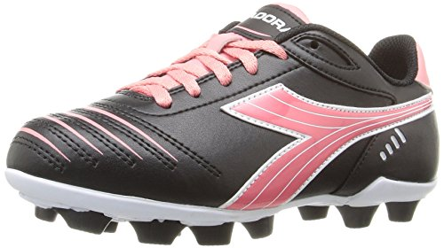 Diadora Kids' Cattura MD Jr Soccer Shoe, Black/Pink, 9 M US Little - Pink Soccer Cleats Girls