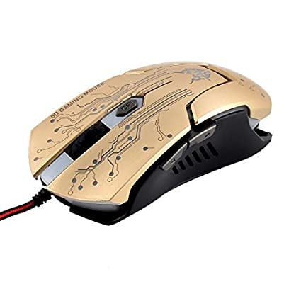 eDealMax Pro Gamer luz LED USB 4000 DPI 6D óptico Con Cable Ratones Gaming Dorado