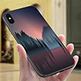 Creative iPhone Case for iPhone X/XS Lakeview and Pine Wood at Dusk Resistance to Falling, Non-Slip,Soft,Convenient Protective Case