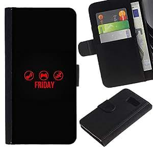 NEECELL GIFT forCITY // Billetera de cuero Caso Cubierta de protección Carcasa / Leather Wallet Case for Samsung Galaxy S6 // TIEMPO Viernes