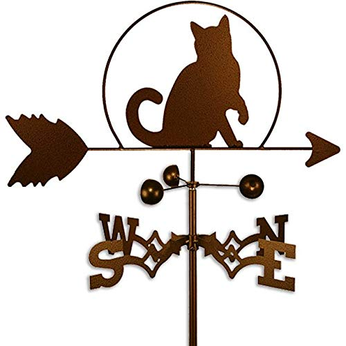 Copper Colored Metal Cat Weathervane Farm Compass Decor Weather Vanes for Rooftop Rustic Country Ranch Decorative Farmhouse Barn Vintage Antique Direction Arrow Wind, Side Mount Steel