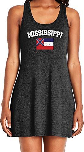 Amdesco Ladies Mississippi State Flag Casual Racerback Tank Dress, Black - Confederate Flag Tank