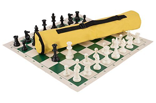 Quiver Chess Set Combination - Triple Weighted - Neon Yellow Bag/Green Board - by US Chess Federation (Triple Bag Board)