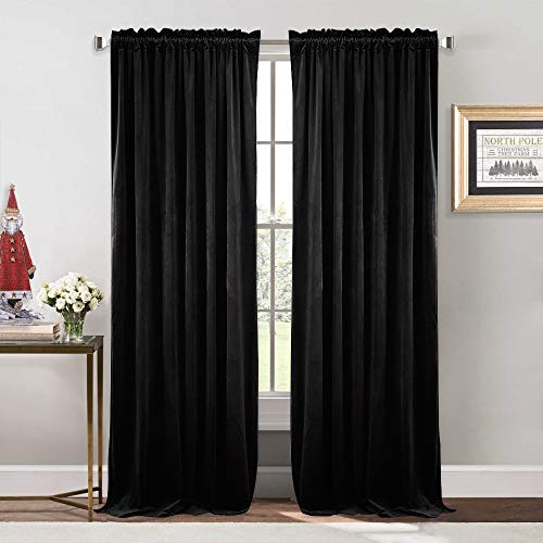 (NICETOWN Bedroom Velvet Blackout Curtain Panels - Solid Heavy Matt Rod Pocket Drapes/Window Treatments (2 Pieces, 96 inch Long,)