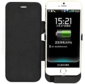 Black Flip Cover 6000mAh Backup Battery Charger External Power Bank Case For Apple iPhone 6