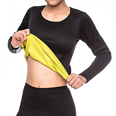 ValentinA Womens Body Shapers Long T-shirt Slimming Neoprene Vest Weight Loss Hot Sweat Shirt