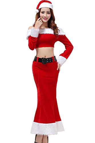 TEMPT Womens Sexy Christmas Costumes Lingerie Dress Holiday Santa Claus Outfits Red (Plus Size Sexy Santa Christmas Costume)