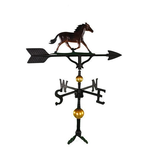 Montague Metal Products 32-Inch Deluxe Weathervane with Color Horse Ornament by Montague Metal Products