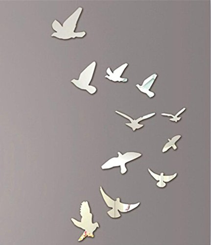 (Vacally Wall Art Decor 11 Pcs Lovely Birds Silver Mirror Decoration Home Room Art 3D DIY Wall Stickers Living Room Bedroom Background )
